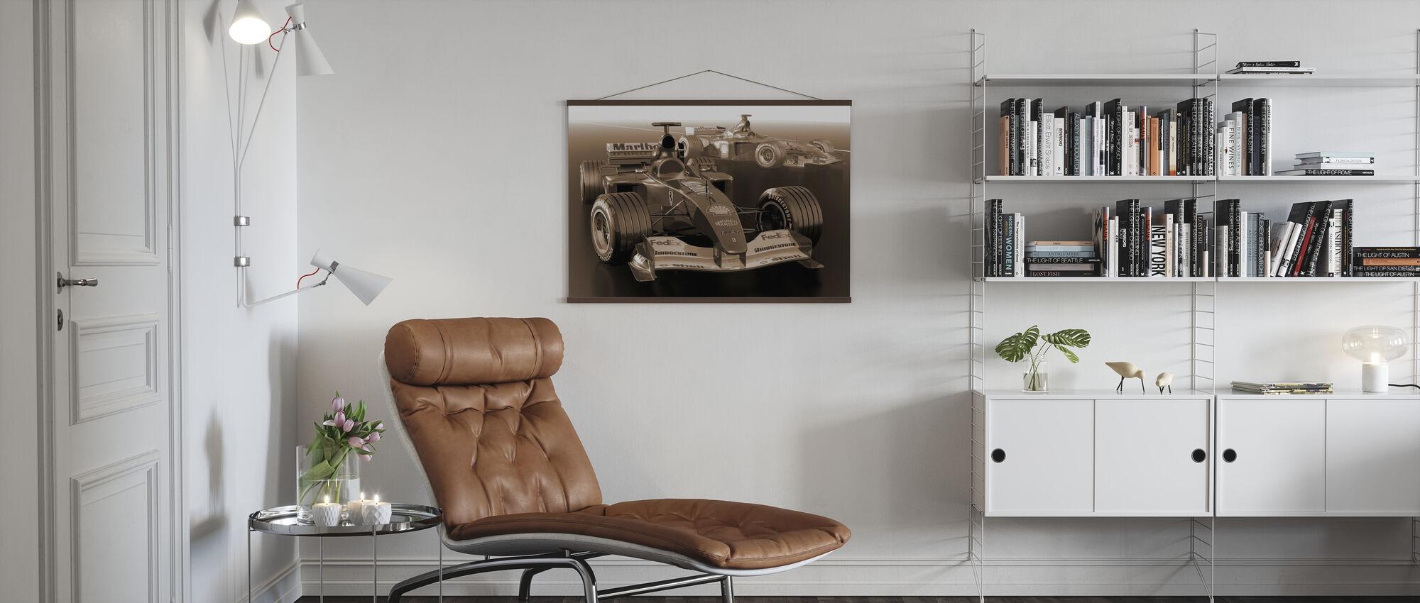Classic Racing Car Sepia - Poster - Living Room