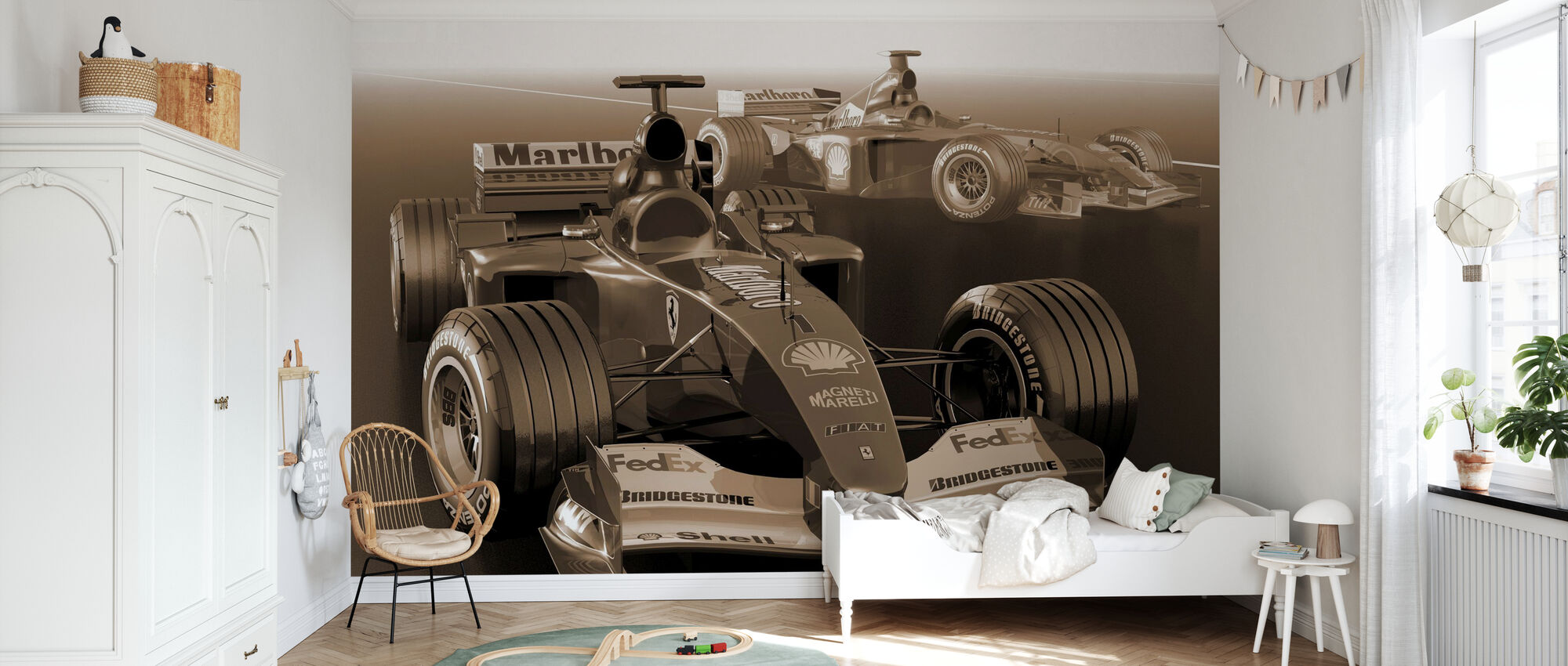 Classic Racing Car Sepia - Wallpaper - Kids Room