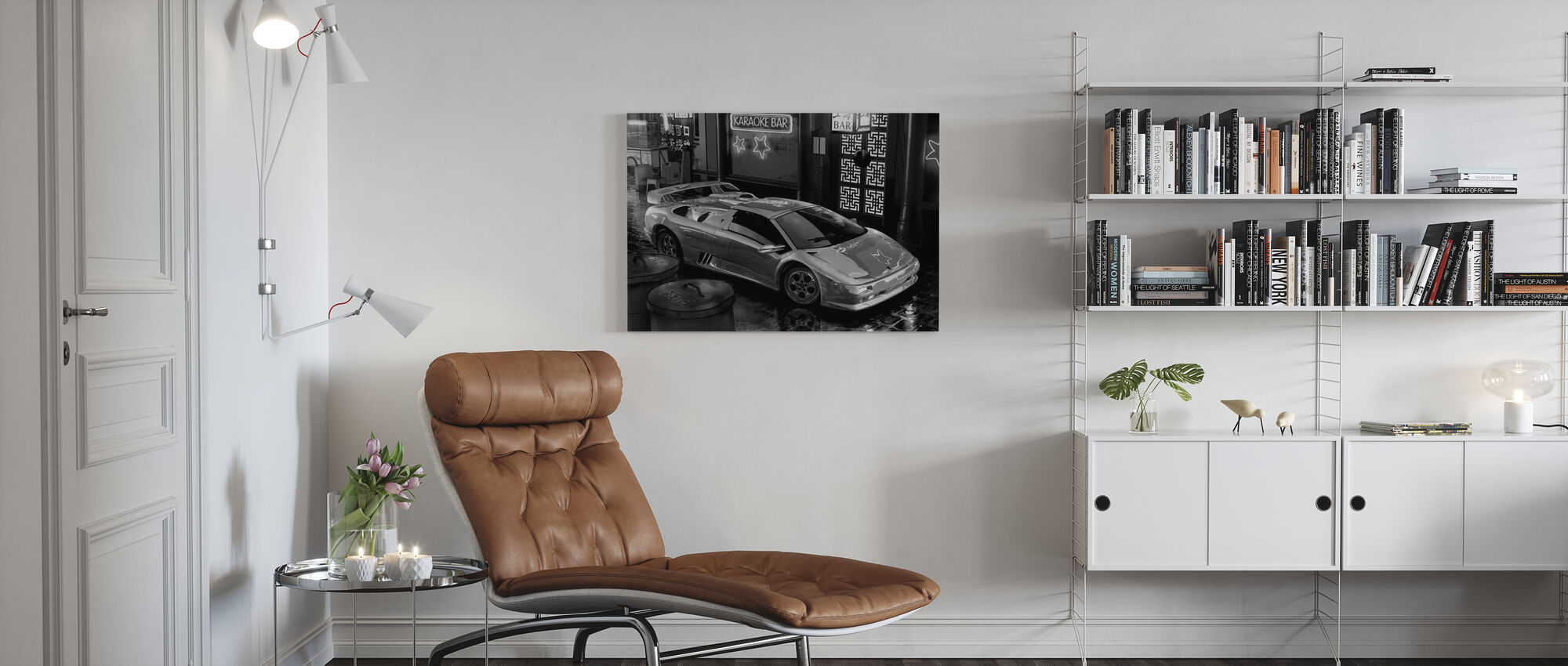 Car in Tokyo BW - Canvas print - Living Room