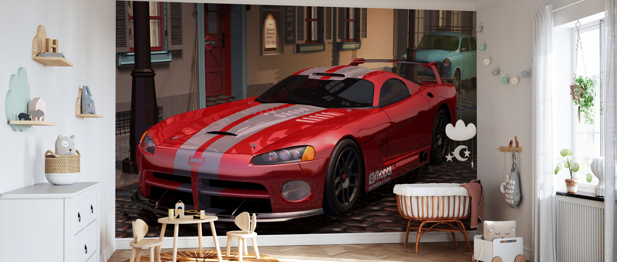 Red Fast Car - Wallpaper - Nursery