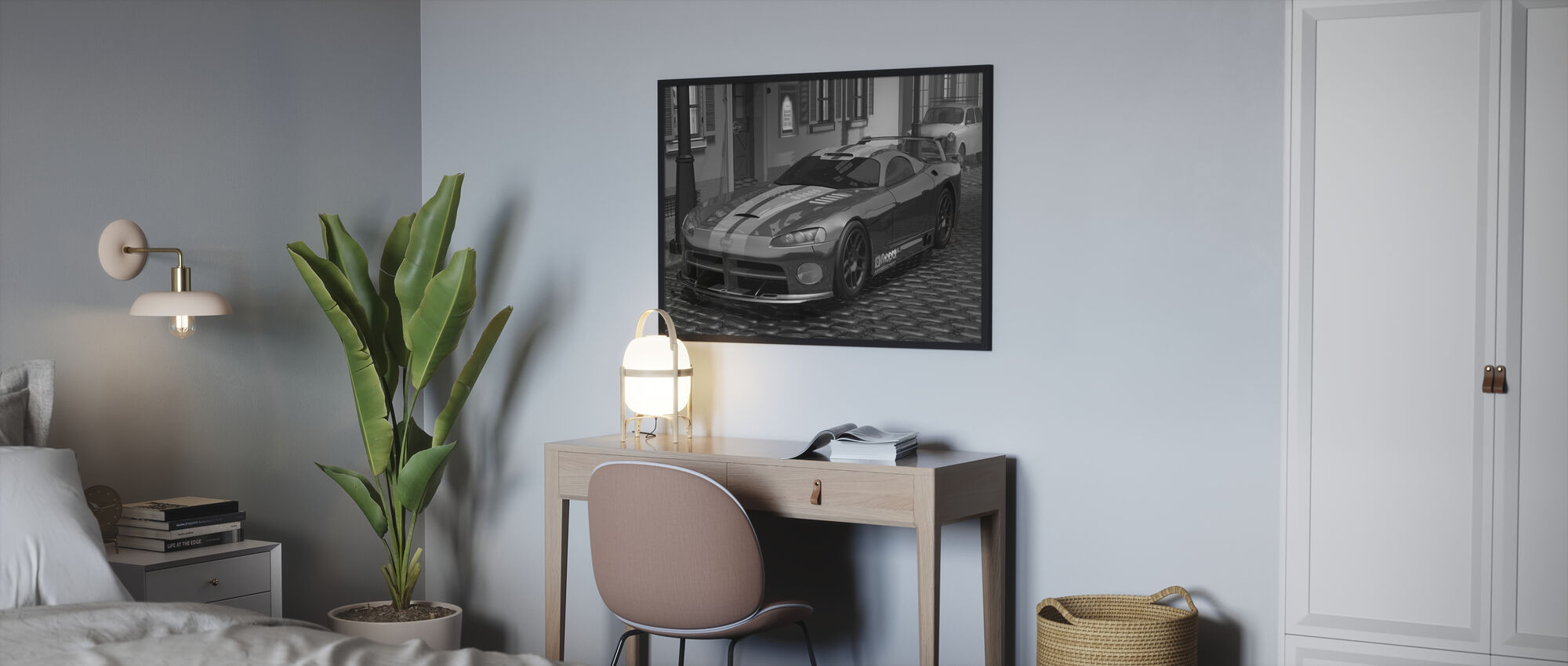 Voiture Rouge Rapide BW - Affiche - Chambre