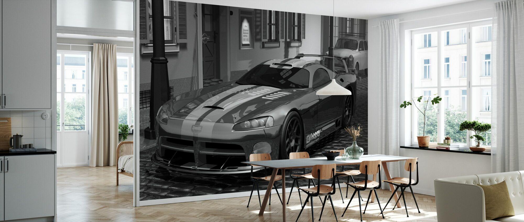 Red Fast Car BW - Wallpaper - Kitchen