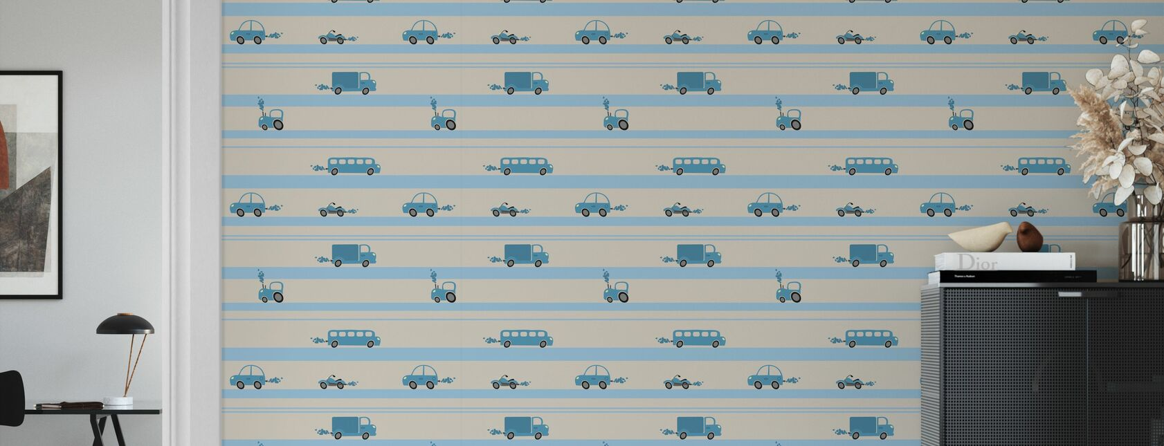 Brum Brum - Blue - Wallpaper - Living Room
