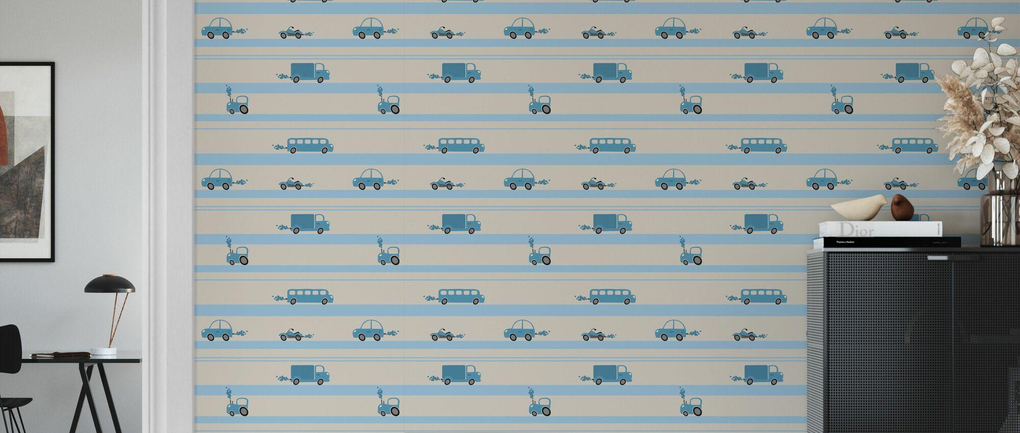 Brum Brum - Blue - Wallpaper - Living Room