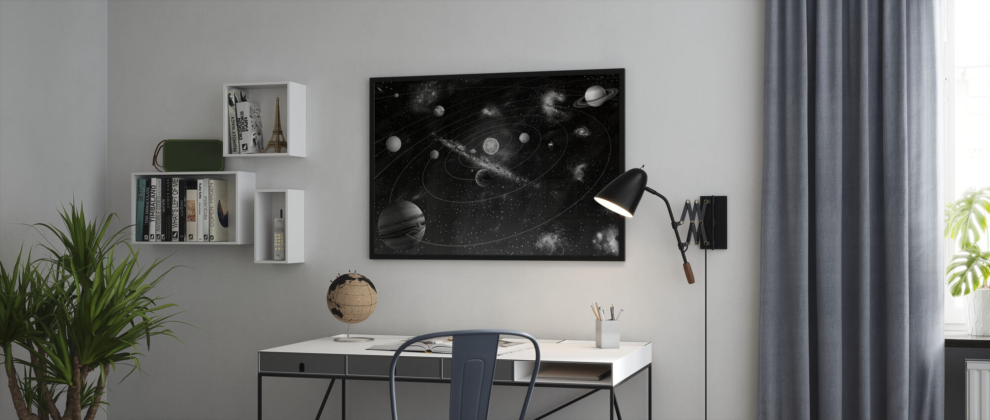 Solar System - b/w - Framed print - Office
