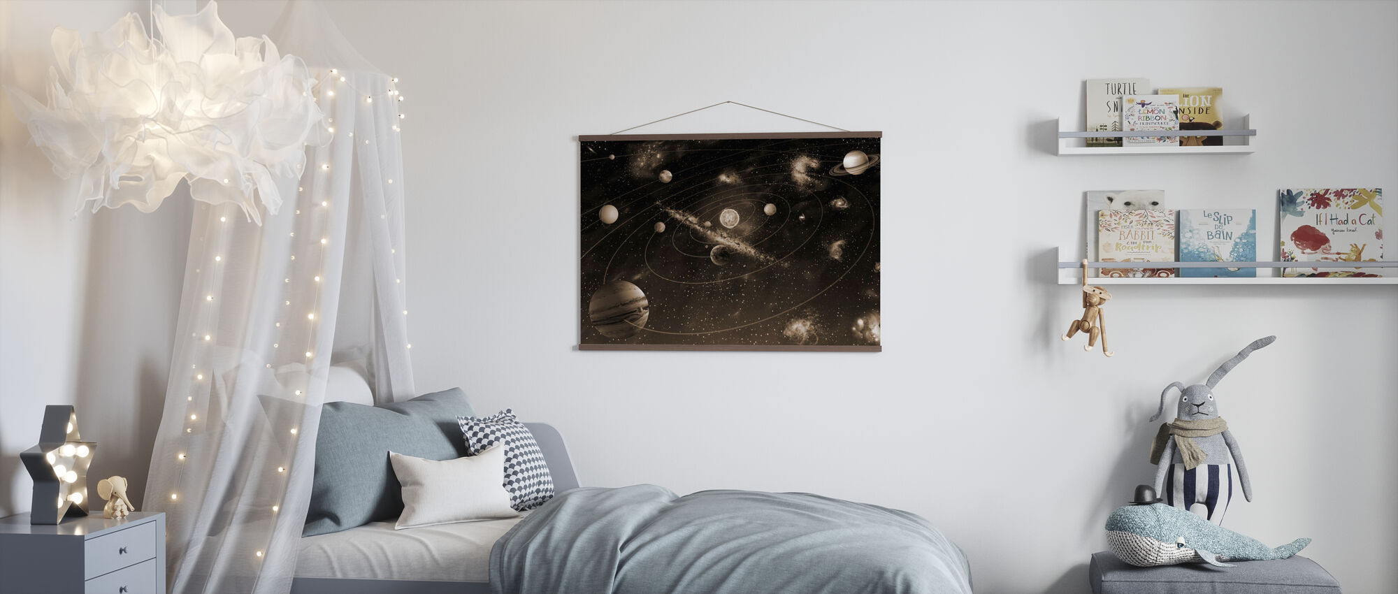 Solar System - Sepia - Poster - Kids Room