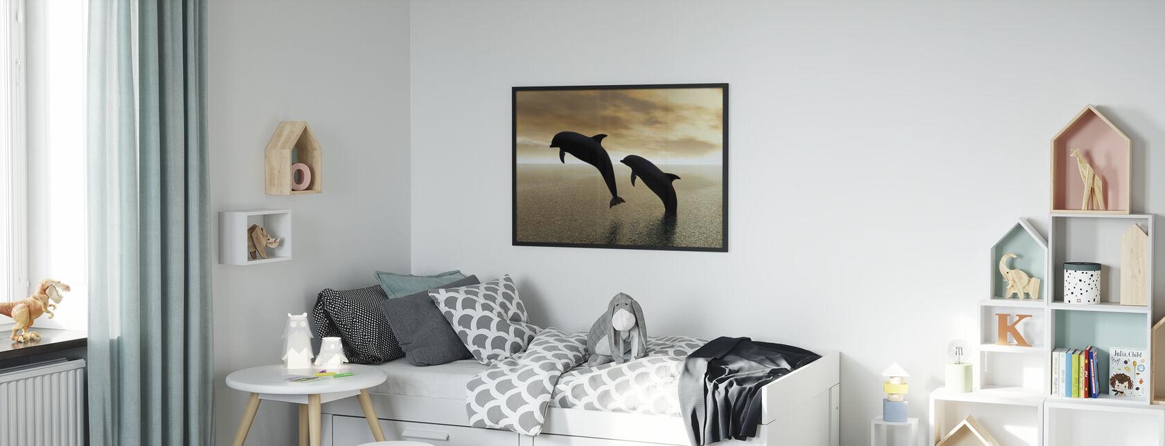 Silhouettes de dauphin - Affiche - Chambre des enfants