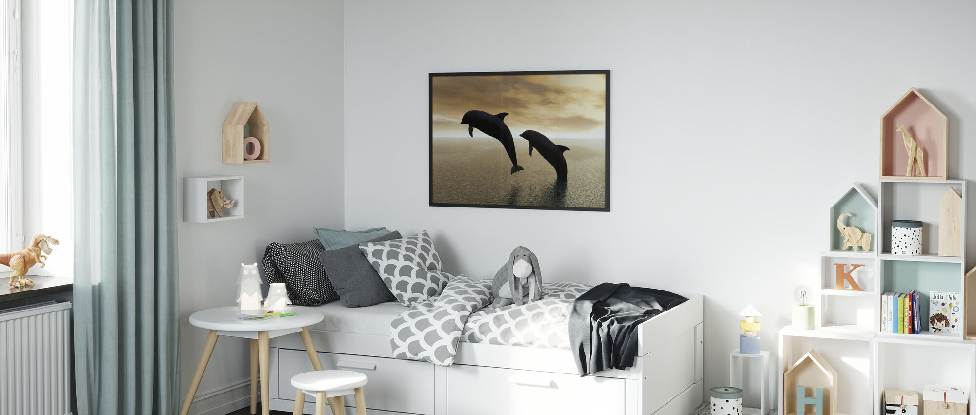 Dolphin Silhouettes - Poster - Kids Room