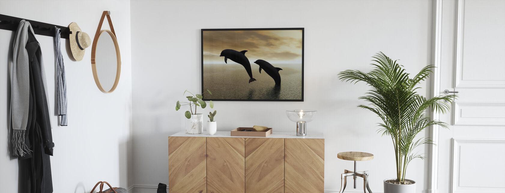 Delfiini siluetteja - Kehystetty kuva - Aula