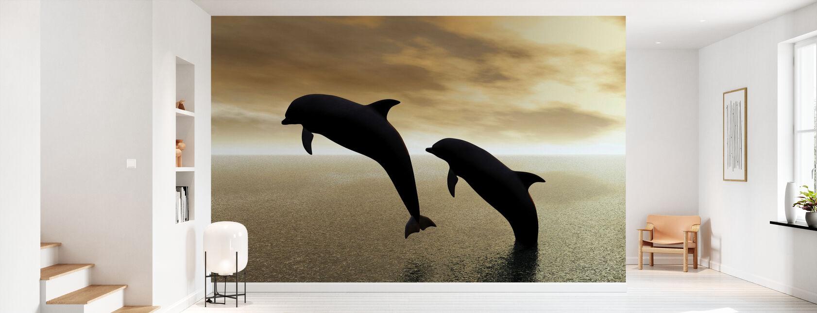Silhouettes de dauphin - Papier peint - Entrée