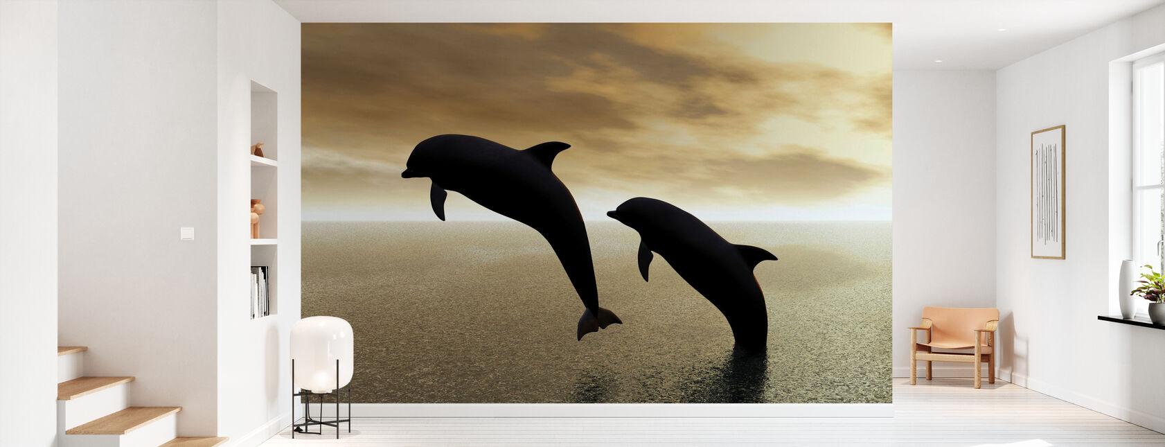 Sagome dei delfini - Carta da parati - Sala