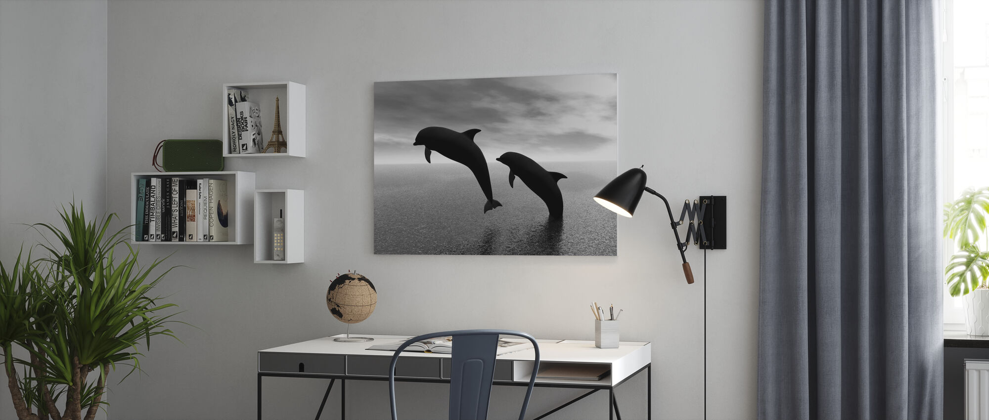 Silhouettes de dauphin - n/b - Impression sur toile - Bureau