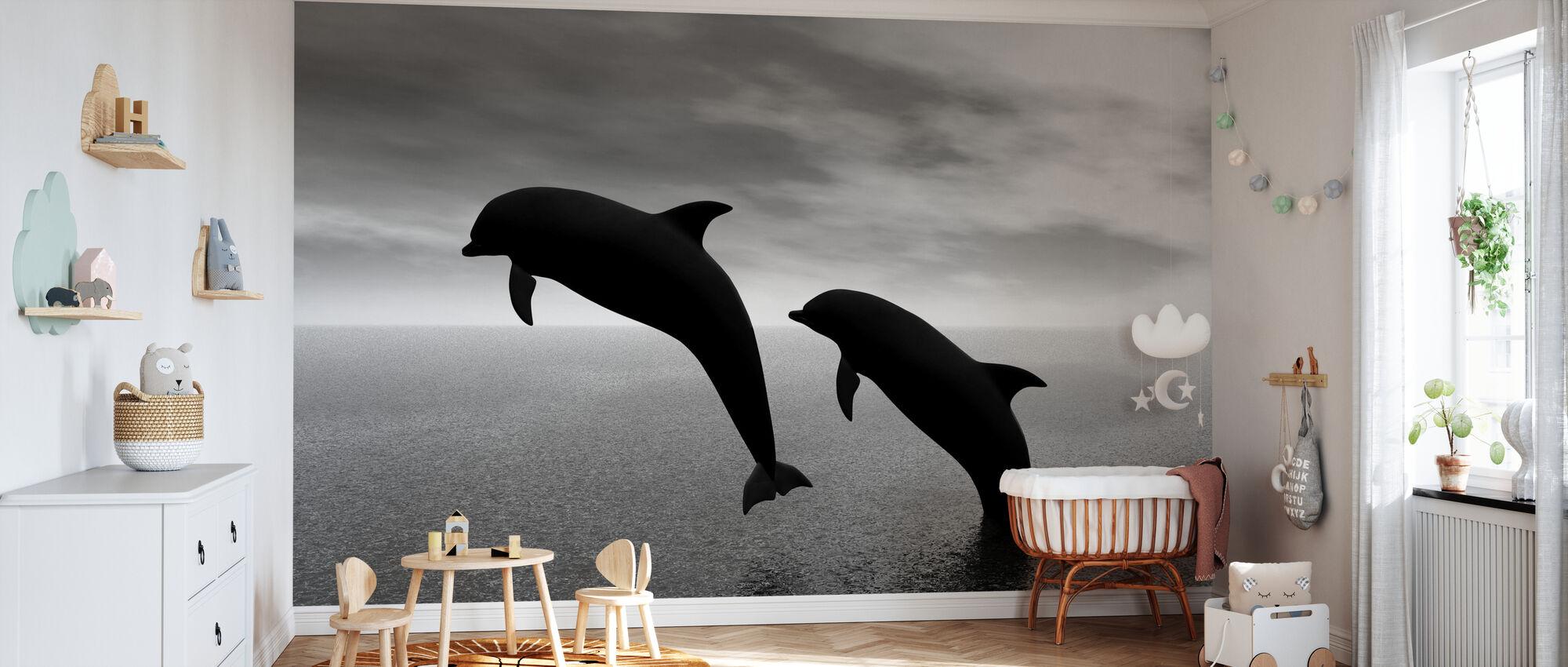 Dolphin Silhouettes - b/n - Carta da parati - Culla