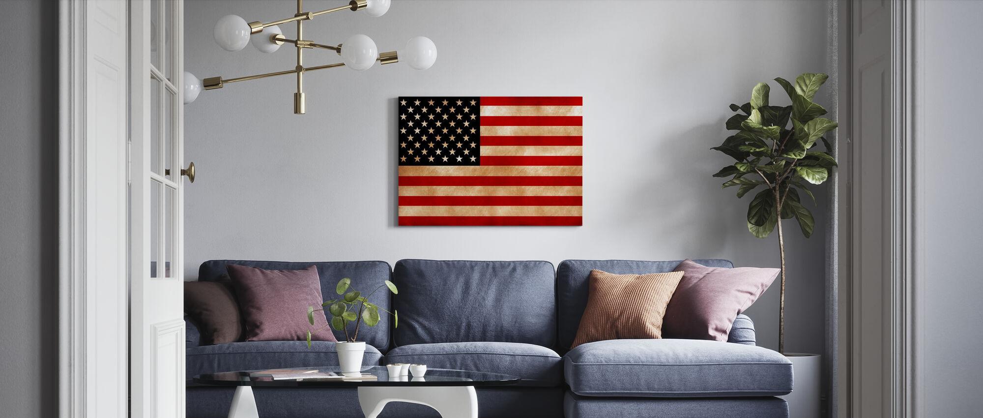 USA lippu - Canvastaulu - Olohuone