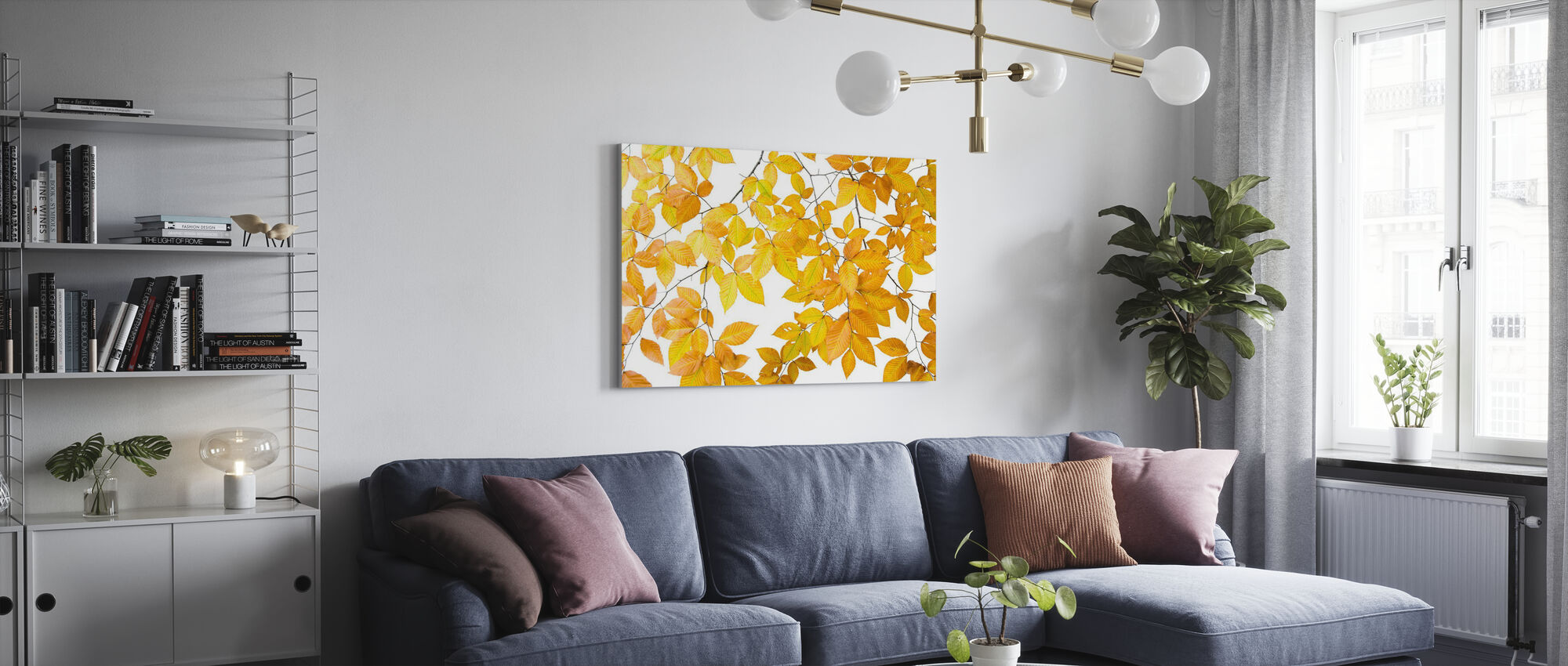 Yellow Leaves on White Background - Canvas print - Living Room