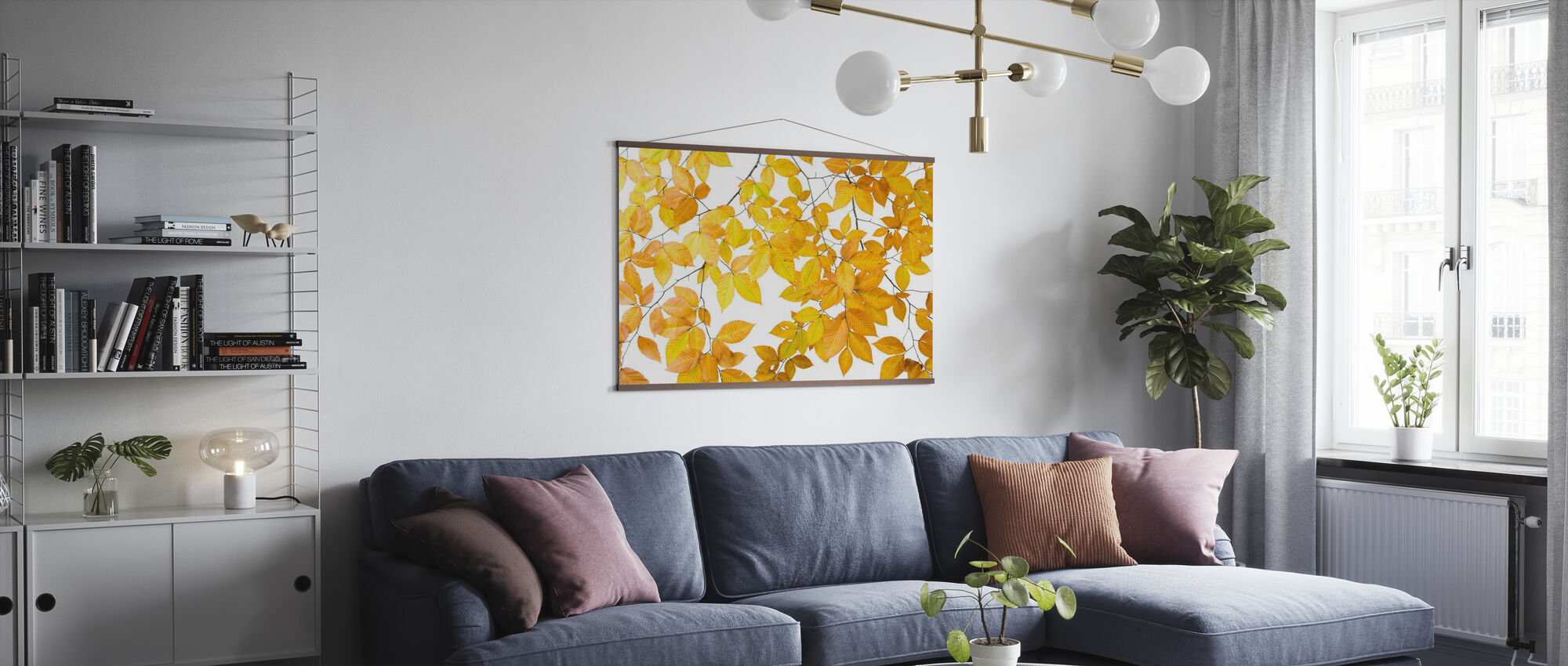 Yellow Leaves on White Background - Poster - Living Room