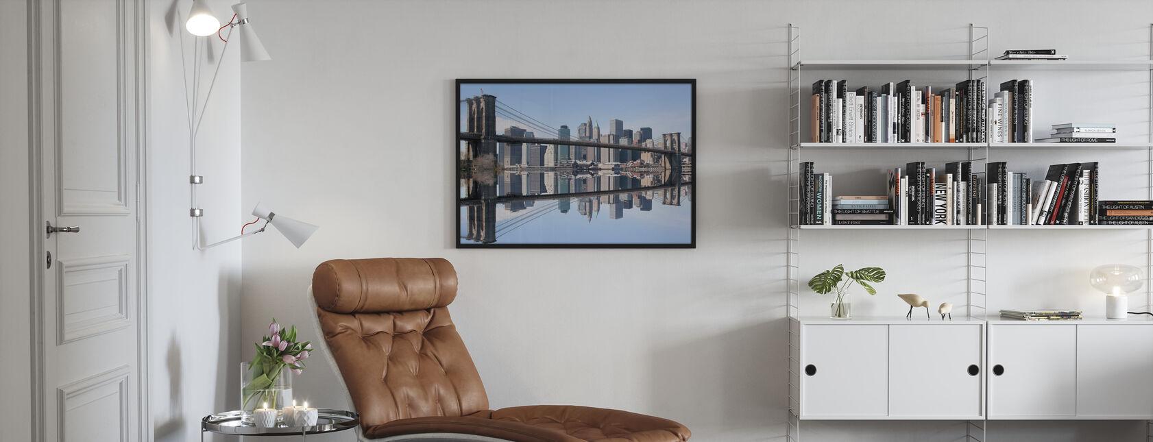 Brooklyn Bridge helder blauwe dag - Ingelijste print - Woonkamer