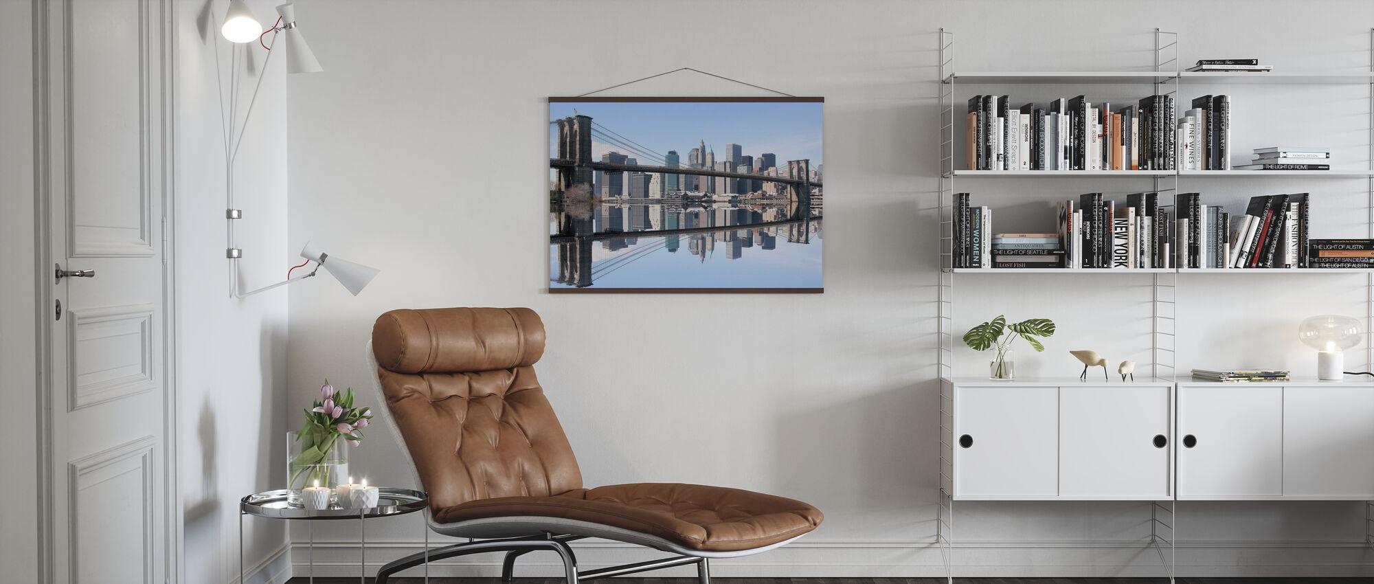 Brooklyn Bridge Clear Blue Day - Poster - Living Room