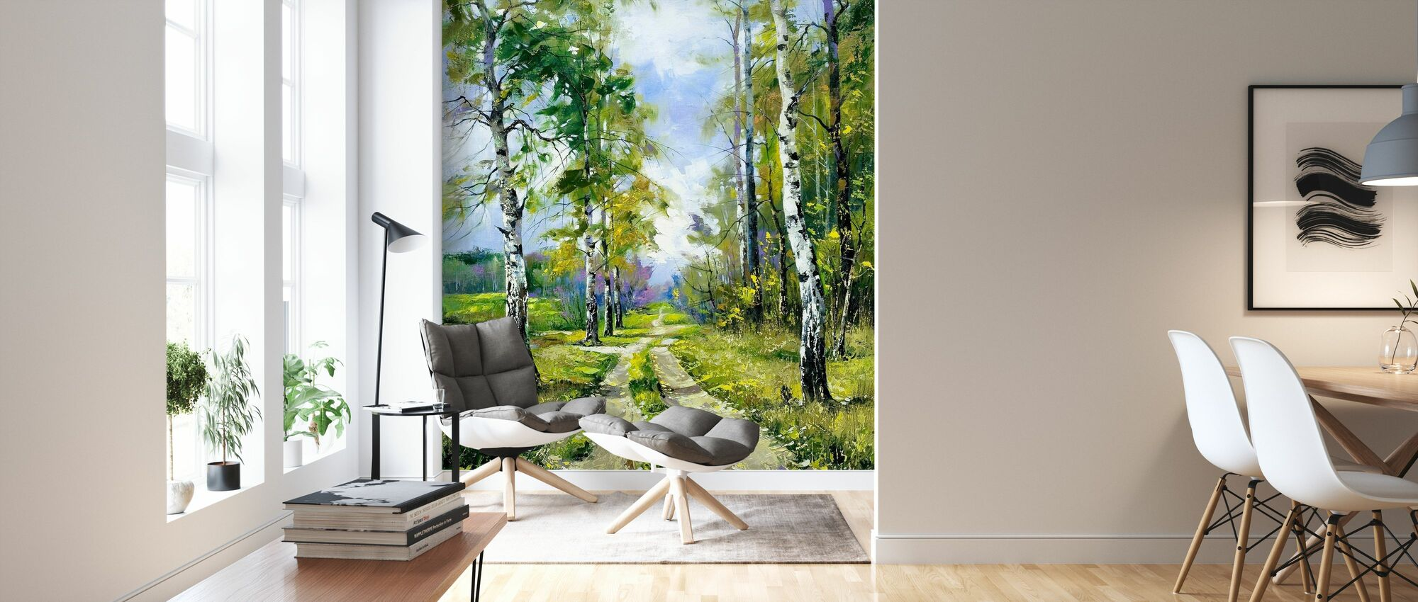 Birch Path - Wallpaper - Living Room