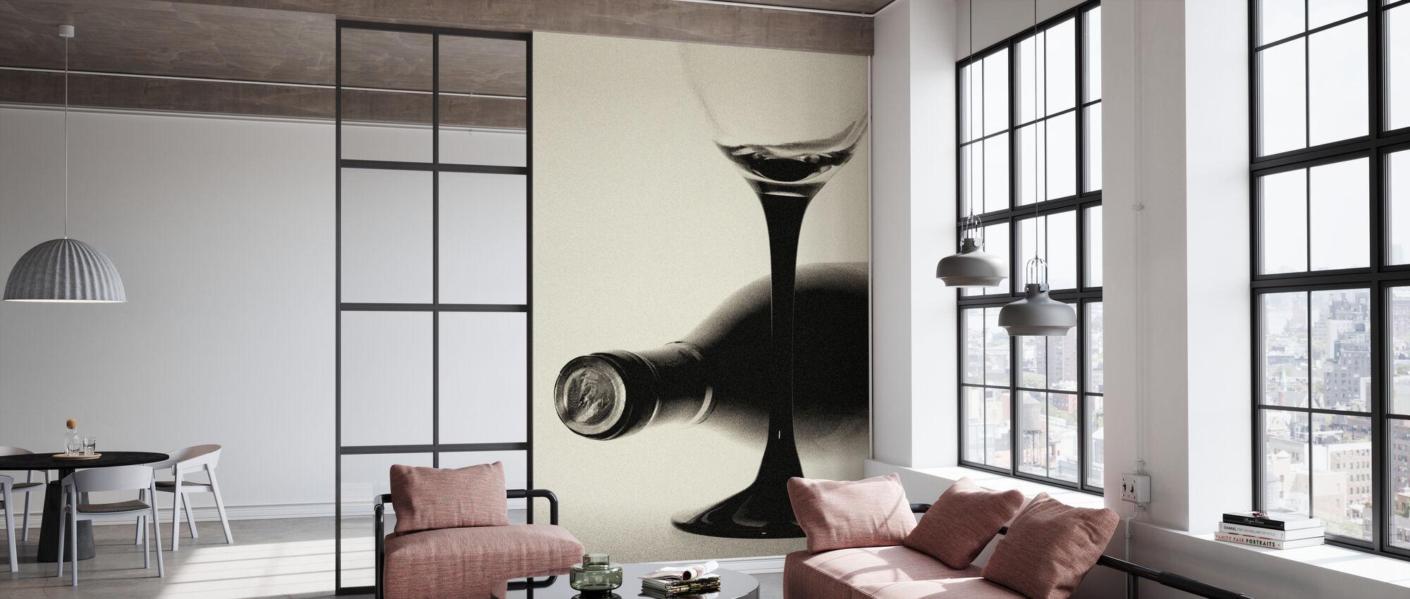 Körnige Weinflasche - Tapete - Büro