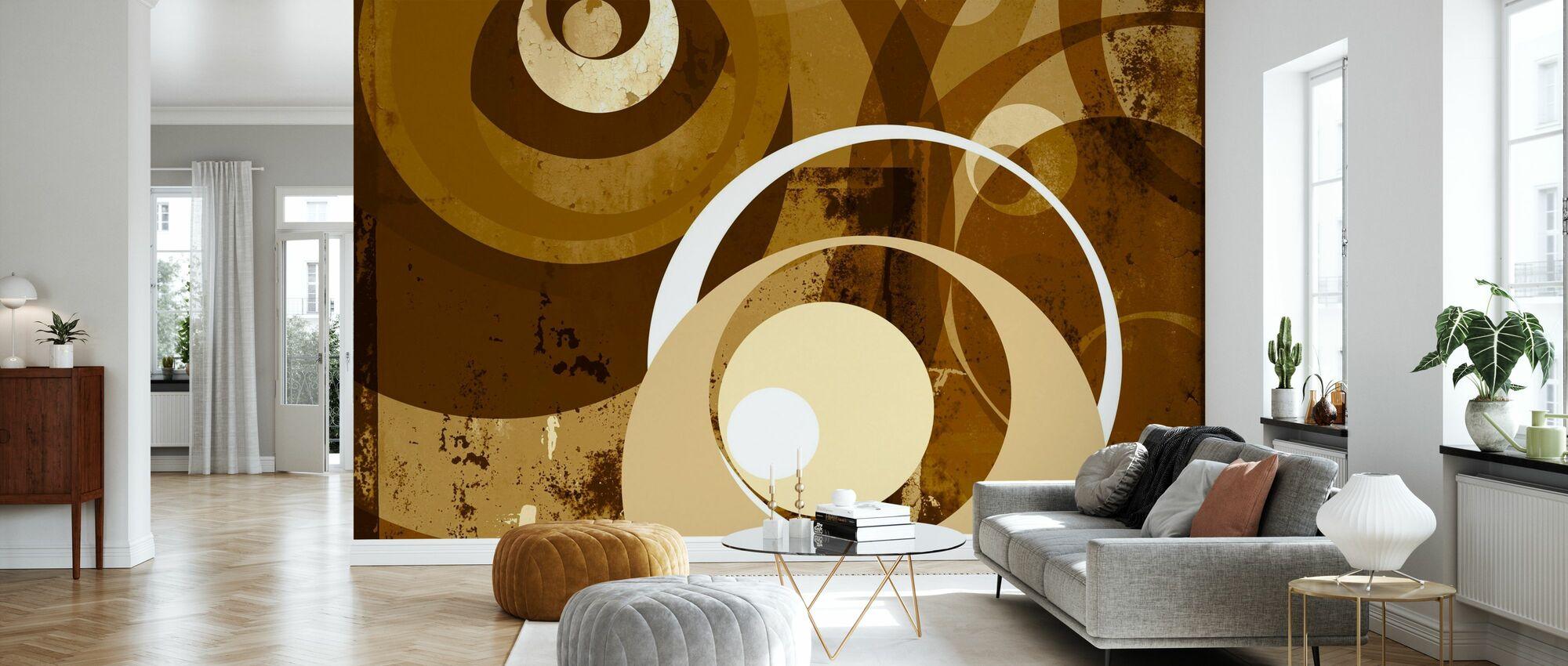 Retro Kreise - Tapete - Wohnzimmer