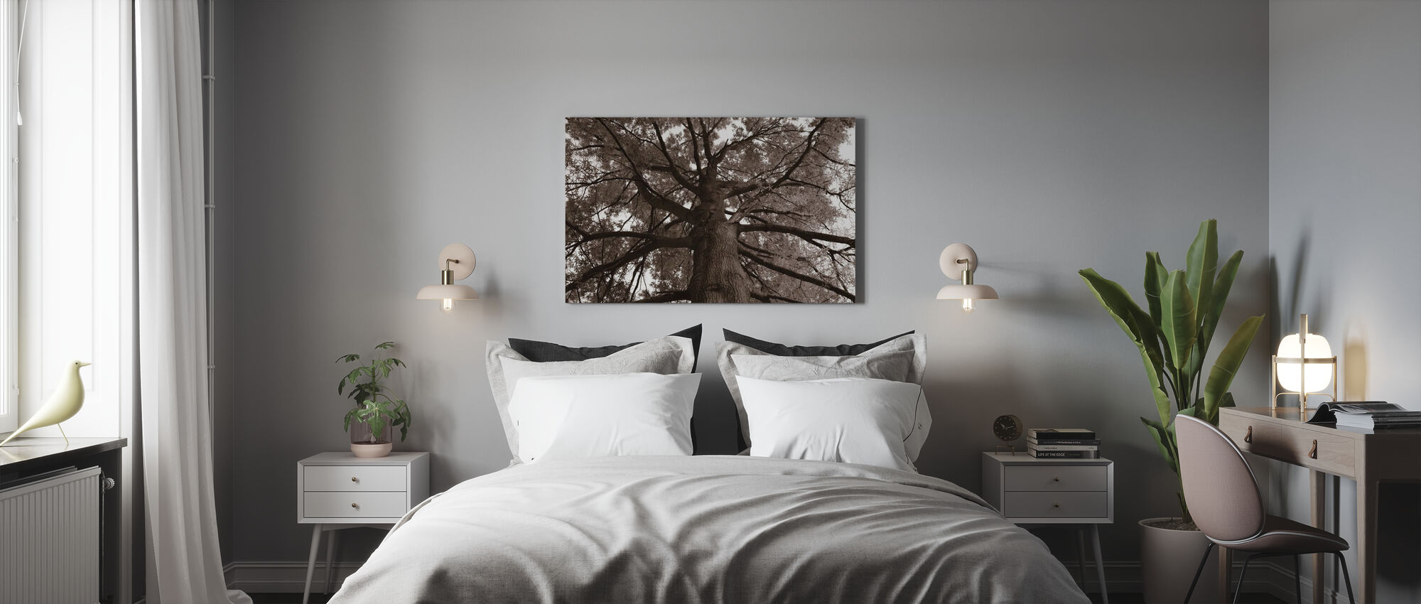 Tall Oak - Sepia - Canvas print - Bedroom