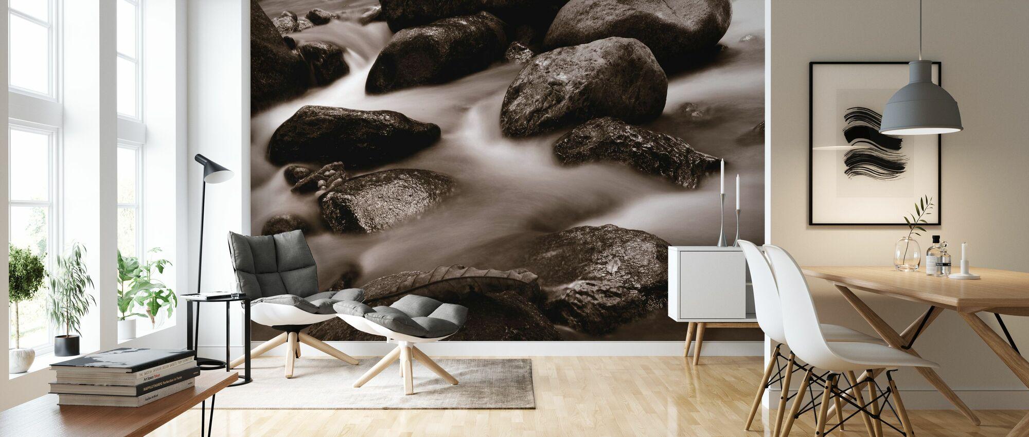 Waterfall Close Up - Sepia - Wallpaper - Living Room