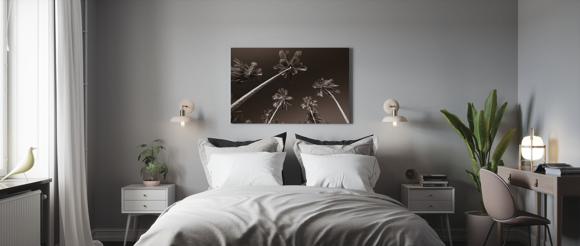 Palm Paradise - Sepia - Canvas print - Bedroom