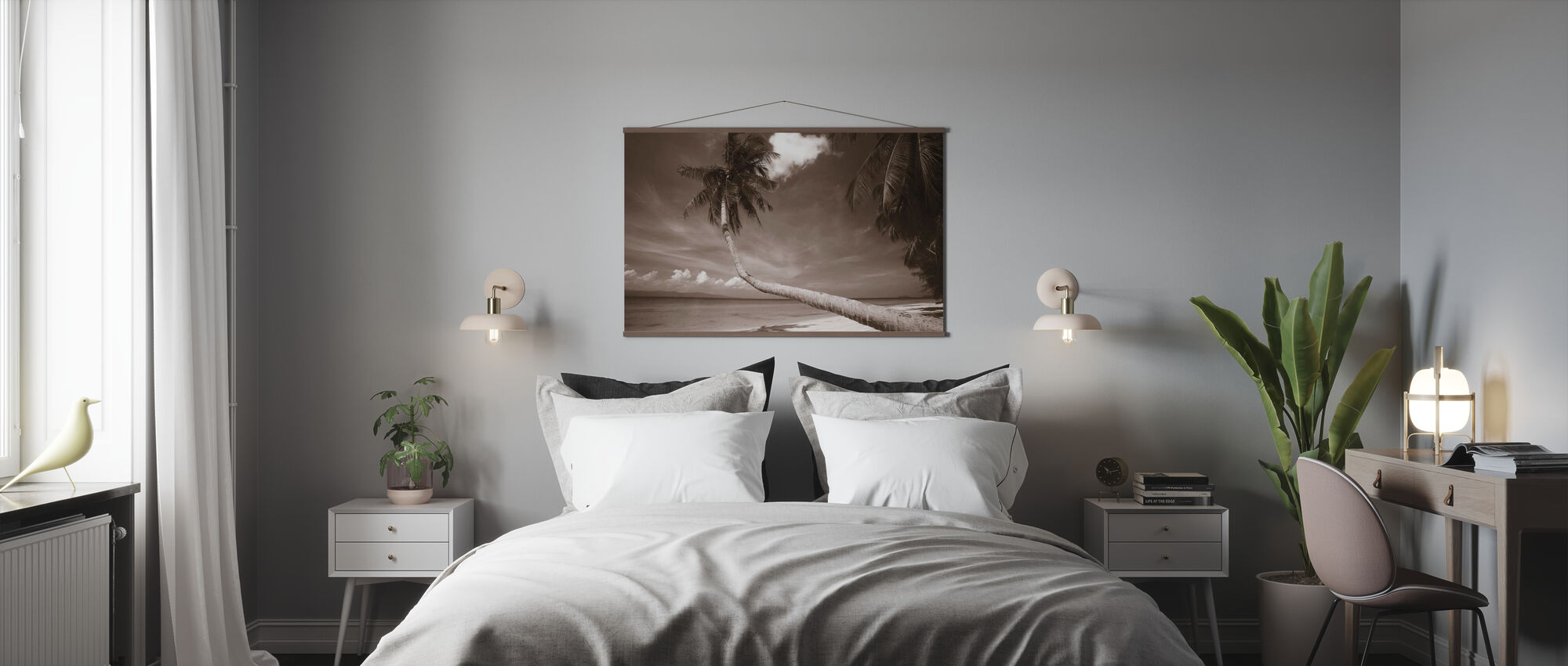 Palm and Bliss - Sepia - Poster - Bedroom