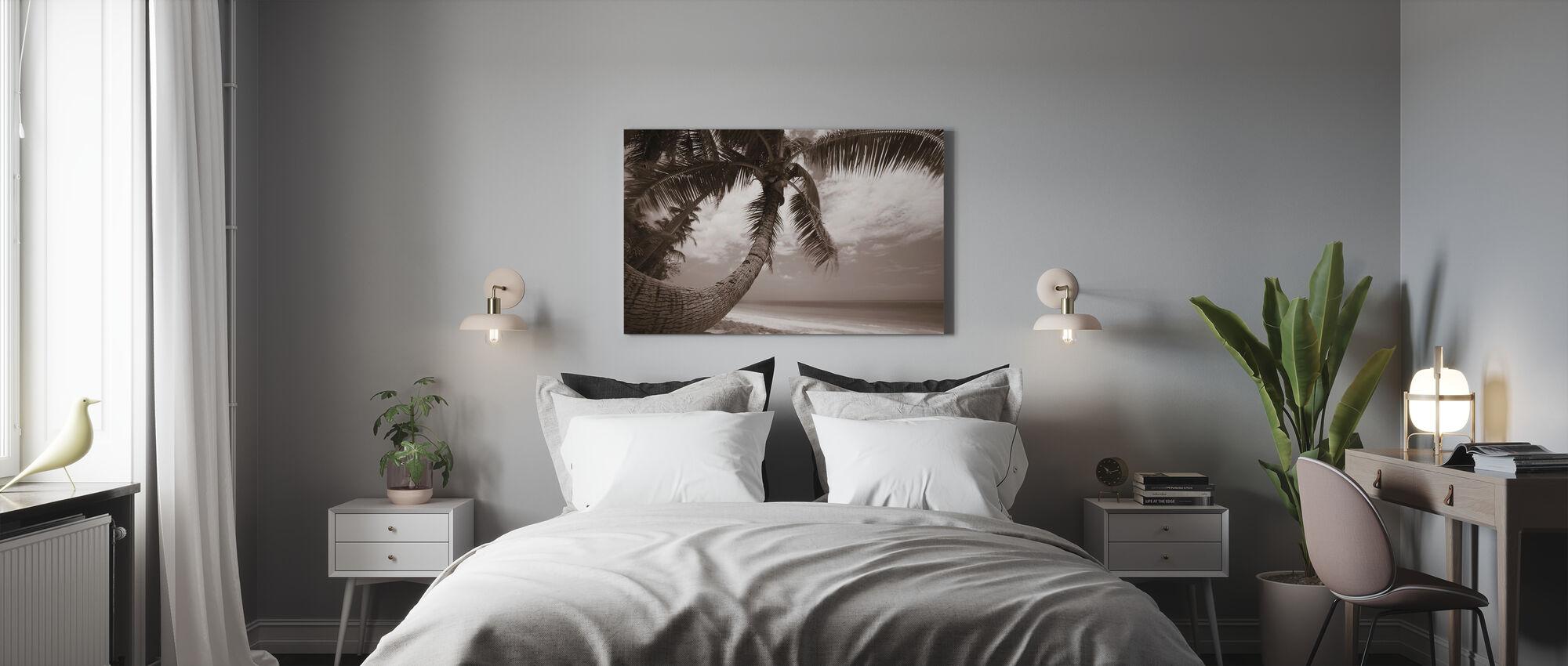 Ronde vorm Palm - Sepia - Canvas print - Slaapkamer