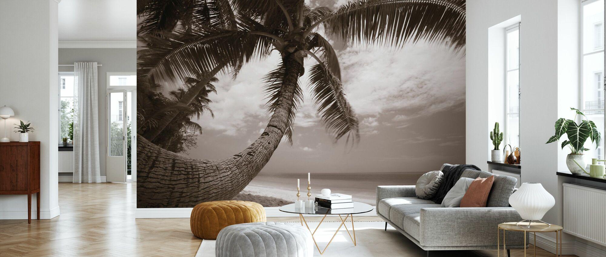 Ronde vorm Palm - Sepia - Behang - Woonkamer
