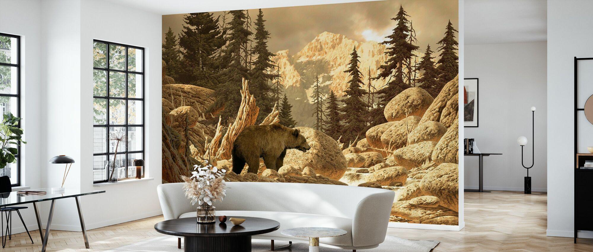 Oso grizzly en los tetones - Papel pintado - Salón
