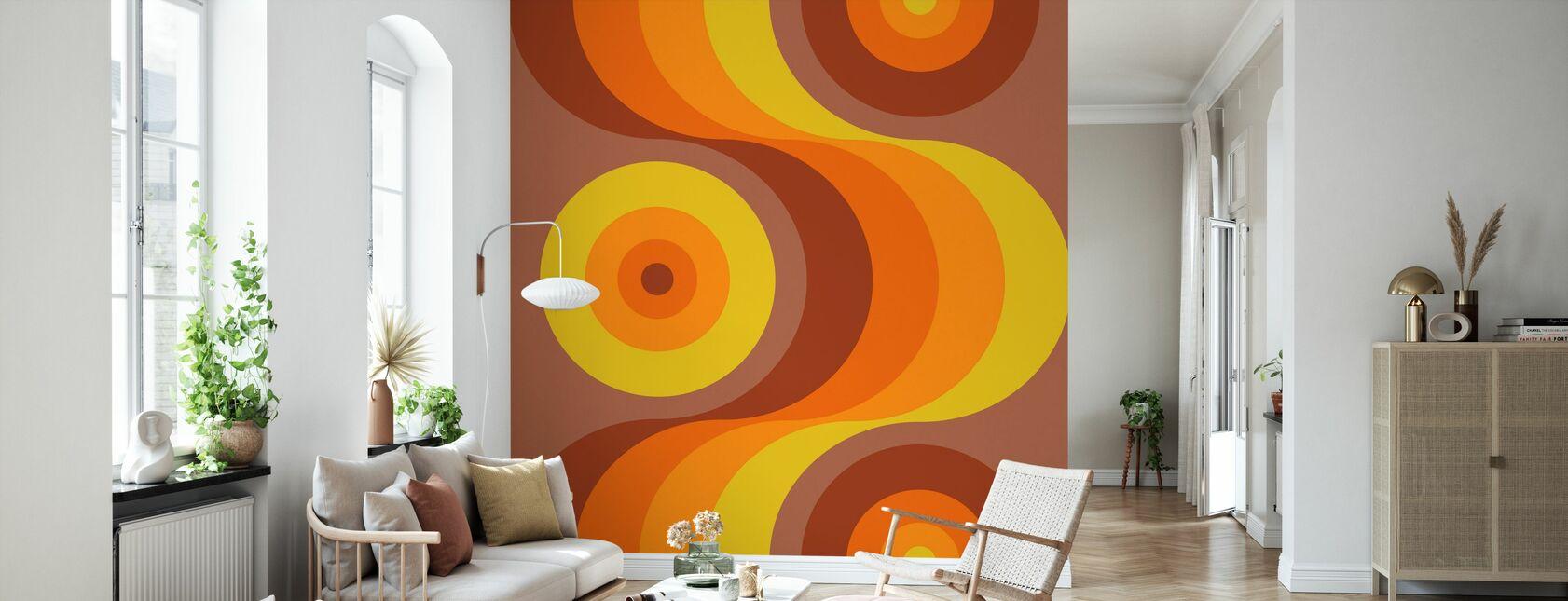 Retro Orange - Wallpaper - Living Room