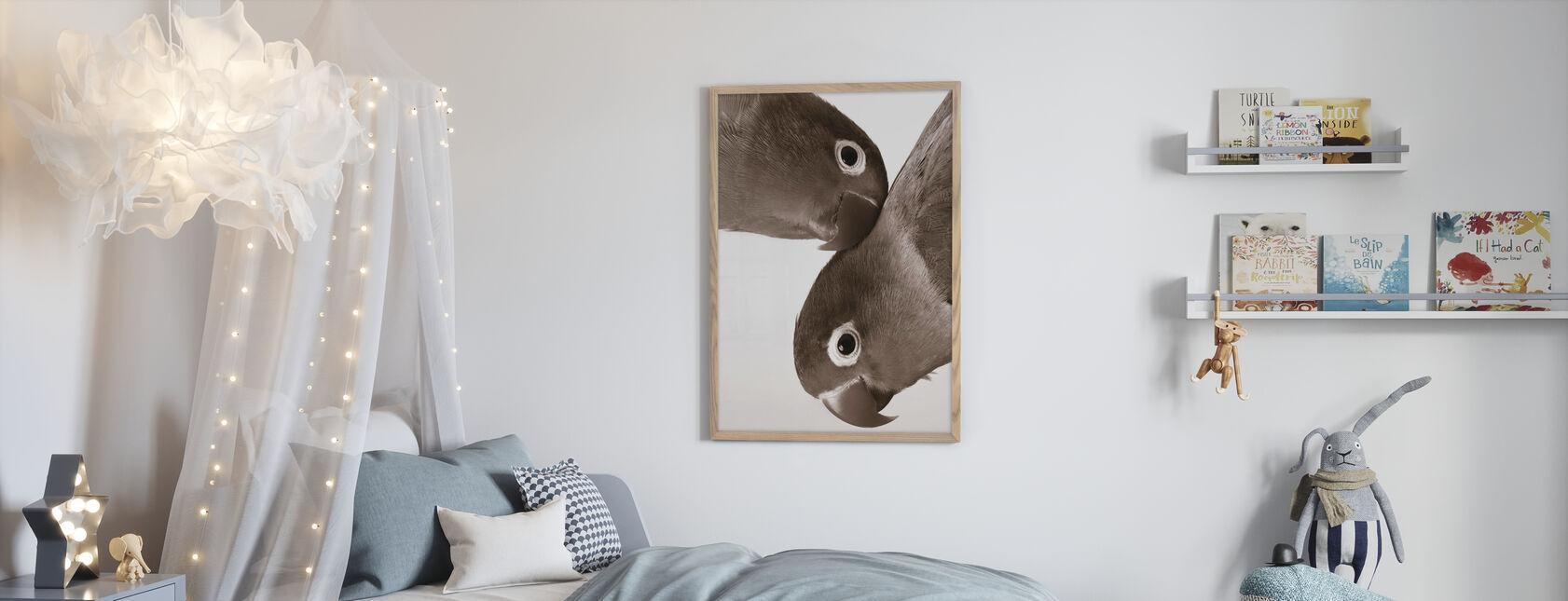 Coppia di Piccioncini - Seppia - Poster - Camera dei bambini