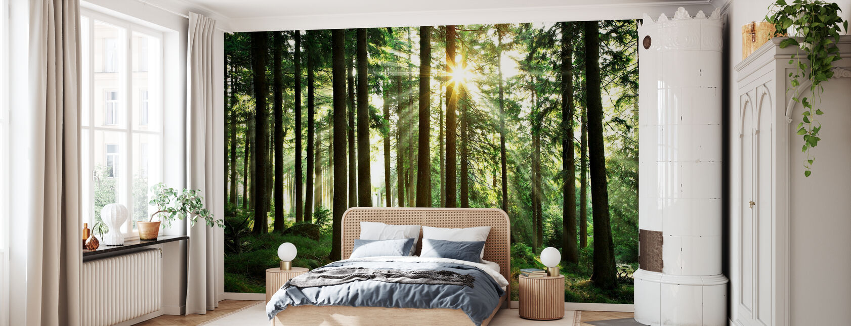 Solstråle genom träd - Tapet - Sovrum