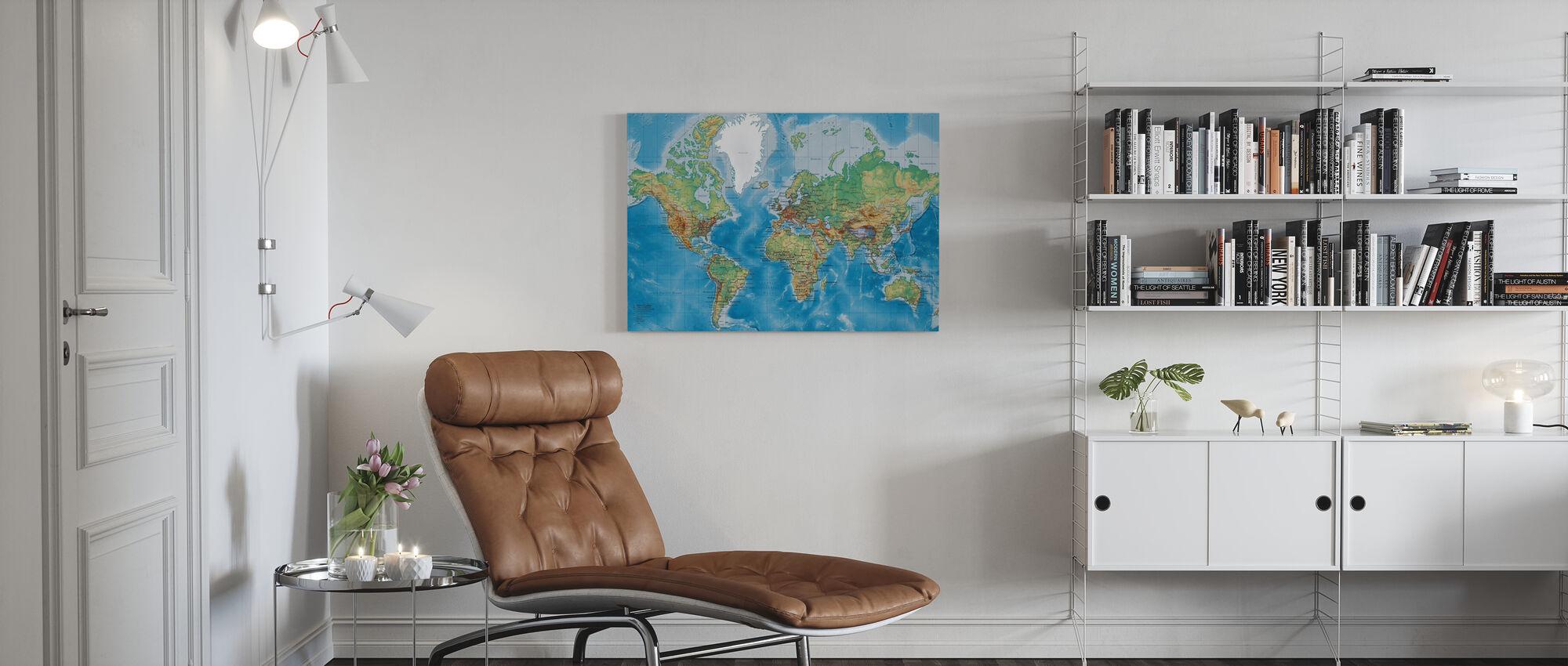 Carte du monde - Avec les routes - Impression sur toile - Salle à manger