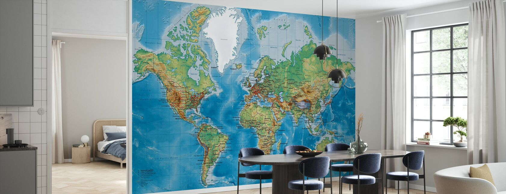 Världskarta - Med Vägar - Tapet - Kök
