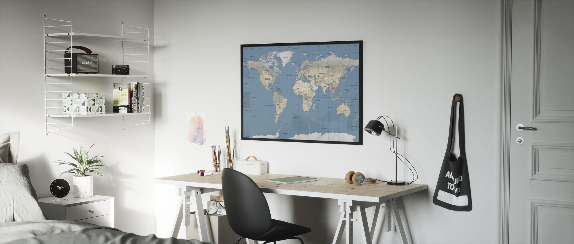 World Map - Framed print - Kids Room