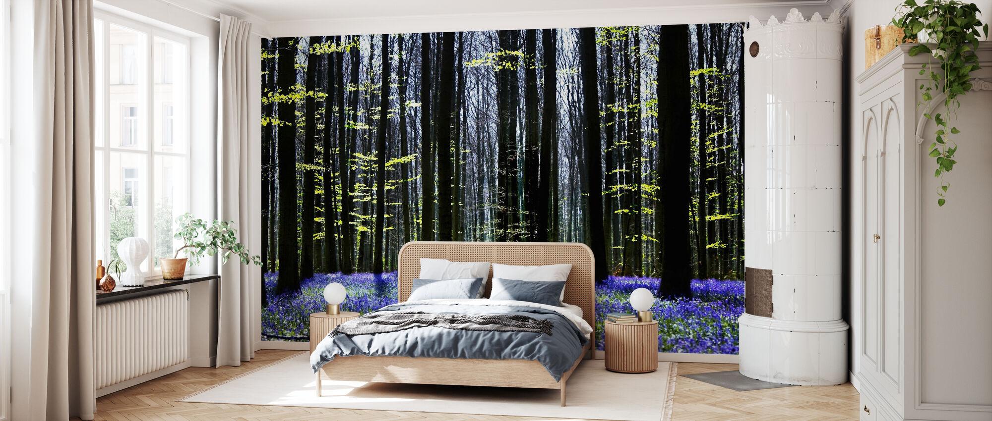 Dark Tree and Bluebells - Wallpaper - Bedroom