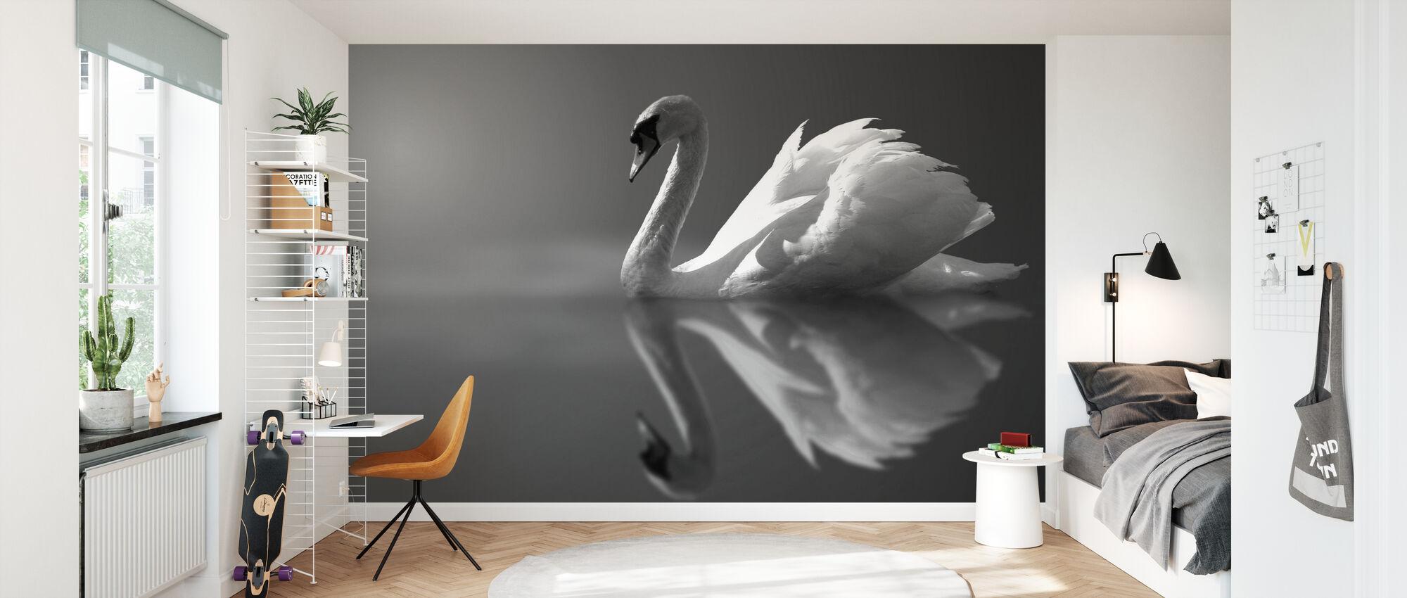 Swan Reflection - Wallpaper - Kids Room