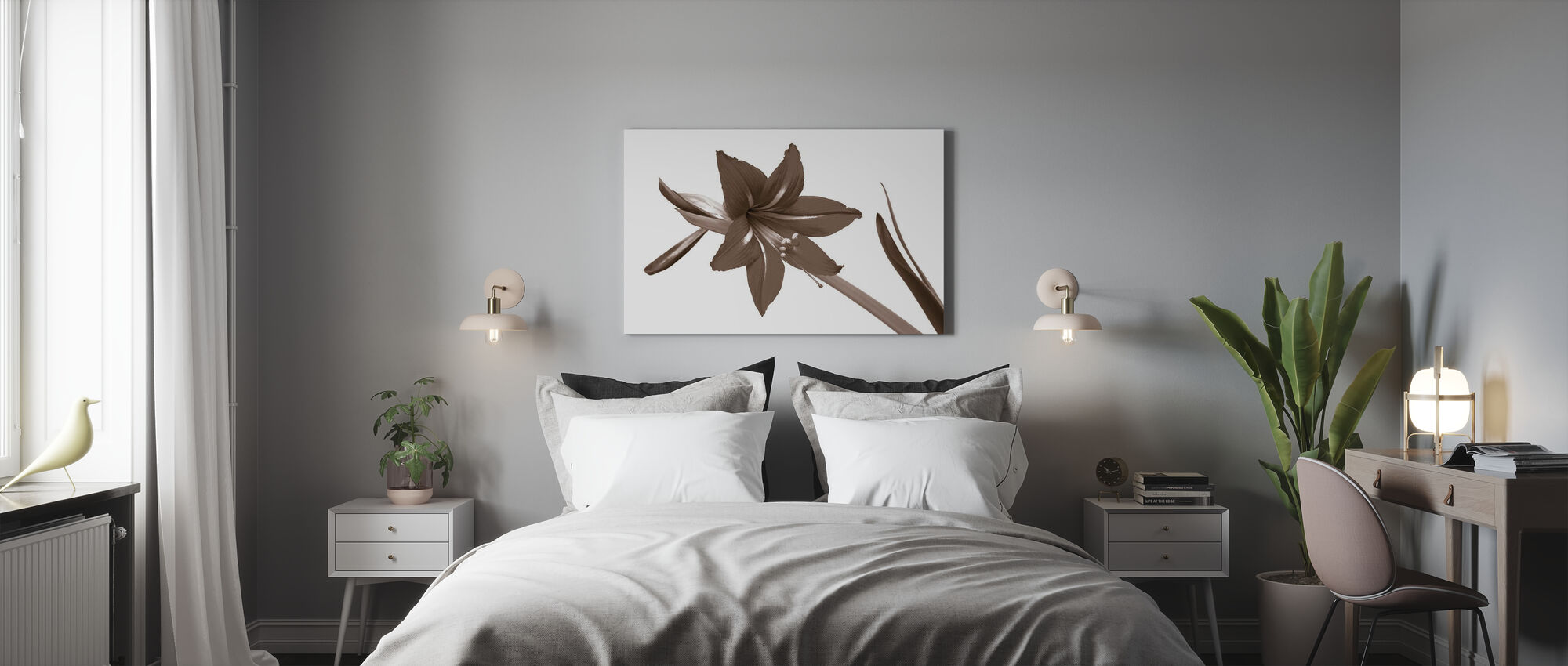 Punainen Lilja - Sepia - Canvastaulu - Makuuhuone