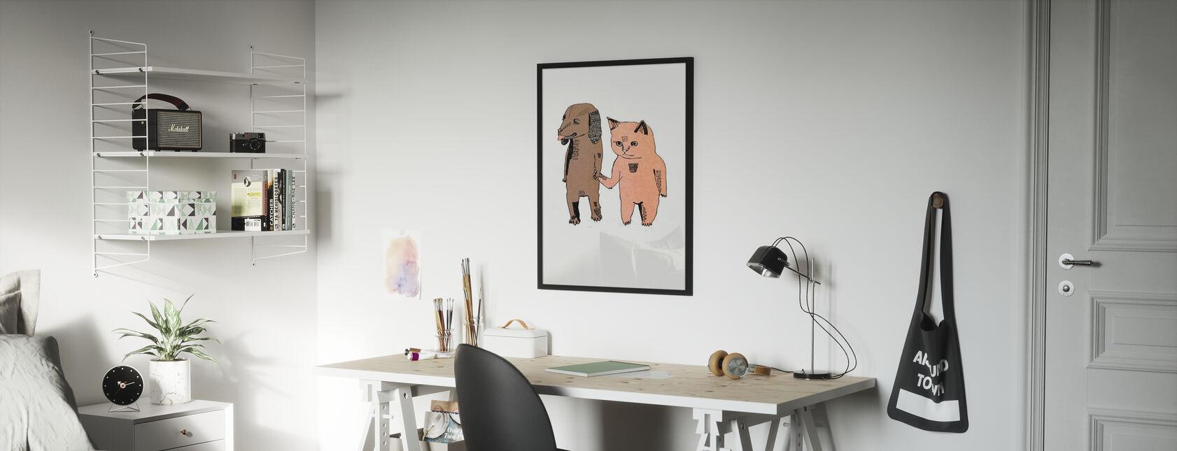 Gatto e Cane - Stampa incorniciata - Camera dei bambini