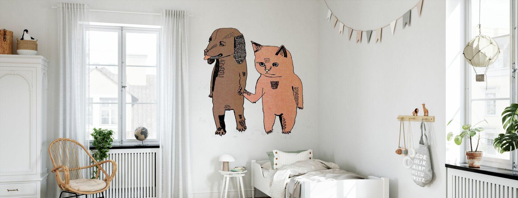 Chat et Chien - Papier peint - Chambre des enfants