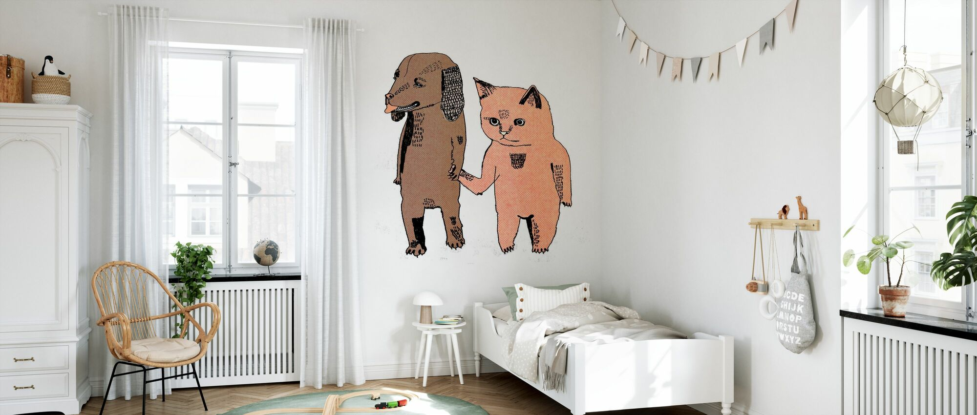 Cat and Dog - Wallpaper - Kids Room