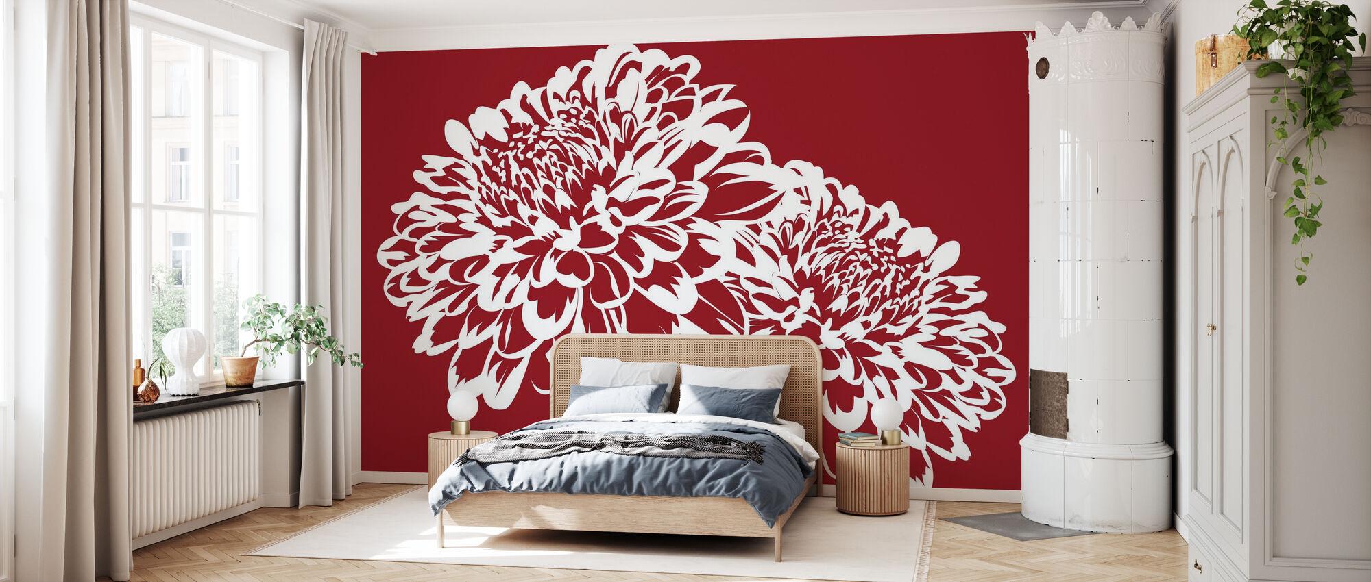 Blossom my Heart - Red - Wallpaper - Bedroom