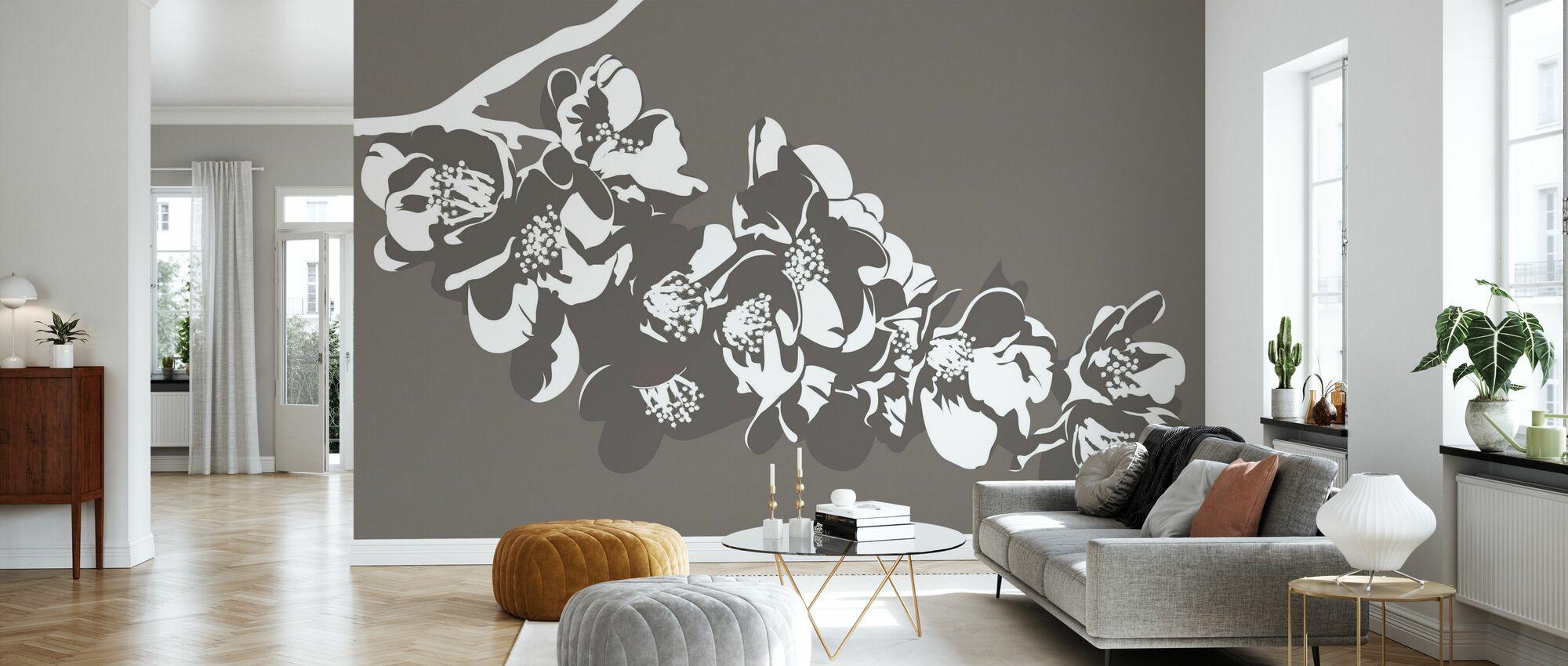 Flora - Brown - Wallpaper - Living Room