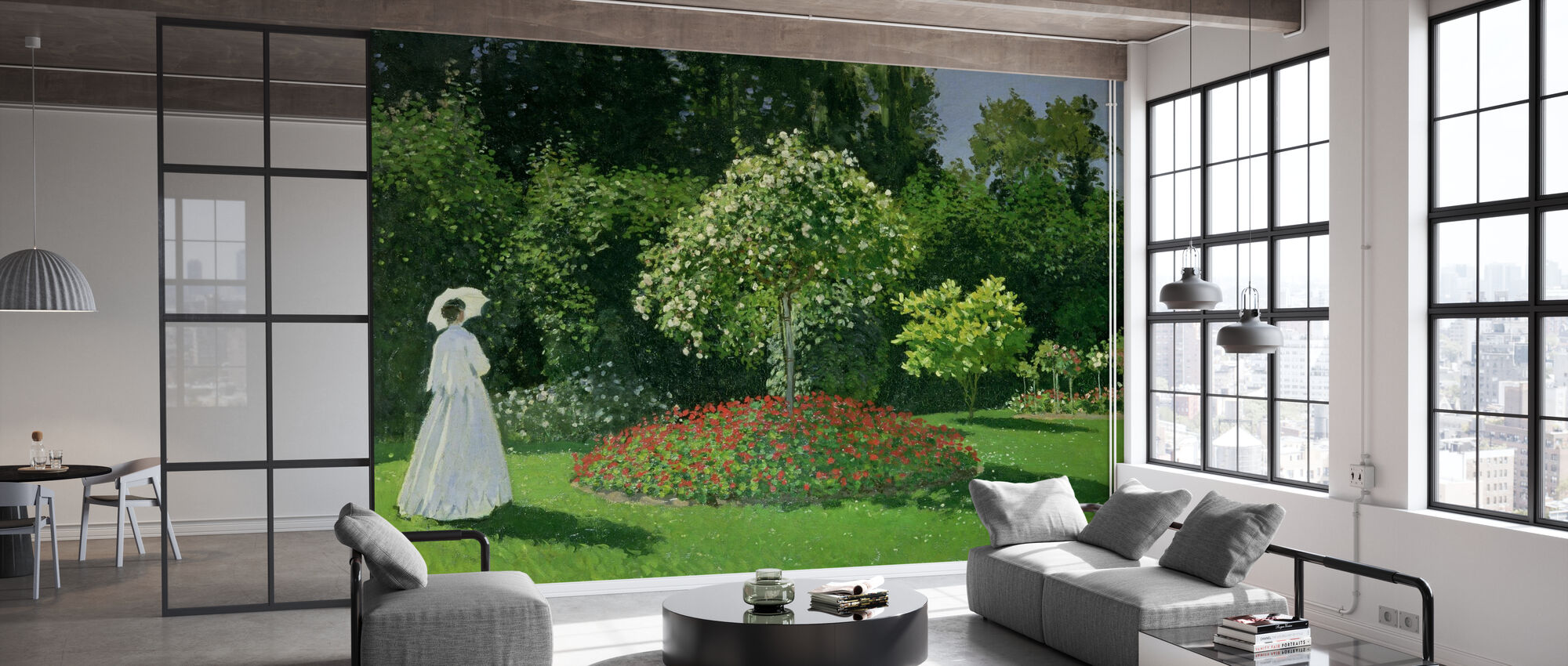 Nainen puutarhassa - Claude Monet - Tapetti - Toimisto