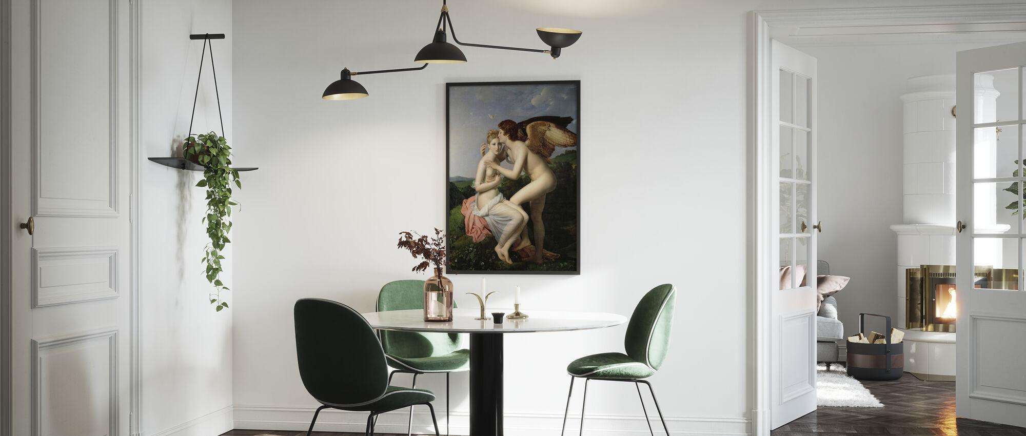 Amorin ensimmäinen suudelma - Francois Pascal Gérard - Kehystetty kuva - Keittiö