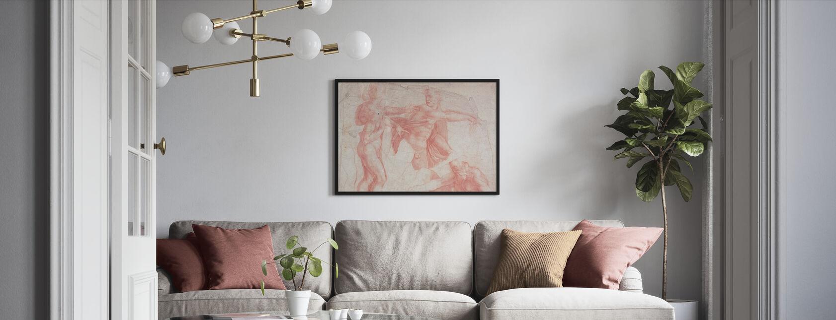 Studies of Male Nudes - Michelangelo Buonarroti - Framed print - Living Room