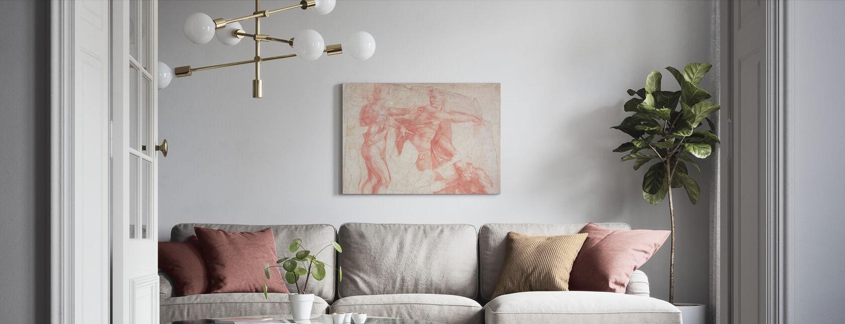 Studies of Male Nudes - Michelangelo Buonarroti - Canvas print - Living Room